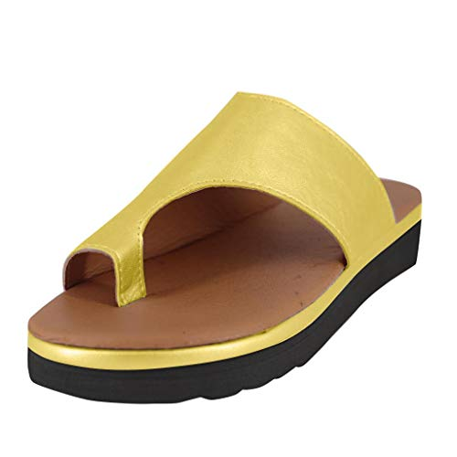 (HAALIFE◕‿Women's Sandals 2019 New Women Comfy Platform Sandal Shoes Summer Beach Travel Shoes Fashion Sandal Ladies Shoes Yellow)