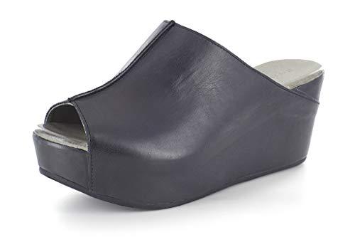 (Chocolat Blu Wynn Wedge - Platform Slip On Mule Sandals - Women's Leather Shoes Black Leather 6)