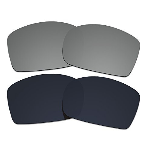 COLOR STAY LENSES 2 Pairs 2.0mm Thickness Polarized Replacement Lenses for Oakley Square Wire II New (OO4075) Sunglasses Black & Titanium Mirror