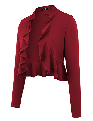 (BOSBARY Women's Open Front Cropped Cardigan Lone Sleeve Casual Shrugs Jacket Draped Ruffles Lightweight Sweaters Wine Red S)