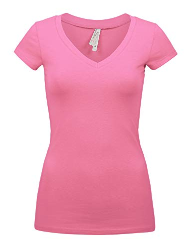 (Womens Basic Bubble Gum Colors Slim Fit V-Neck Shirts Top (1001-BUBBLE Gum-L))