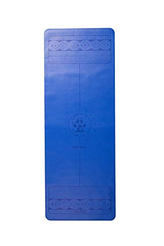 Yogi Bare Lunar Paws - Extreme Grip Yoga Exercise Mat - ECO Friendly Natural Rubber Surface with Body Alignment - Ocean Blue