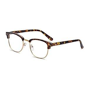 Outray Vintage TR90 Half Frame Horn Rimmed Prescription Optical Frames Glasses 2135TR-c3 Tortoise