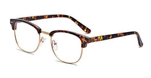 Outray Vintage TR90 Half Frame Horn Rimmed Prescription Optical Frames Glasses 2135TR-c3 Tortoise