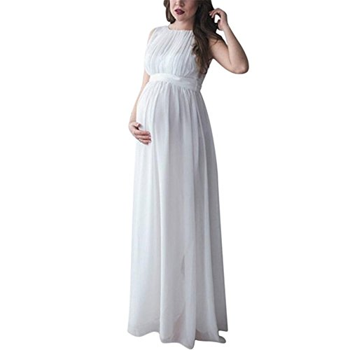 Maternity Gown, Sleeveless Photography Props High Waist Long Maxi Pregnant Baby Shower Dress (S, White)]()
