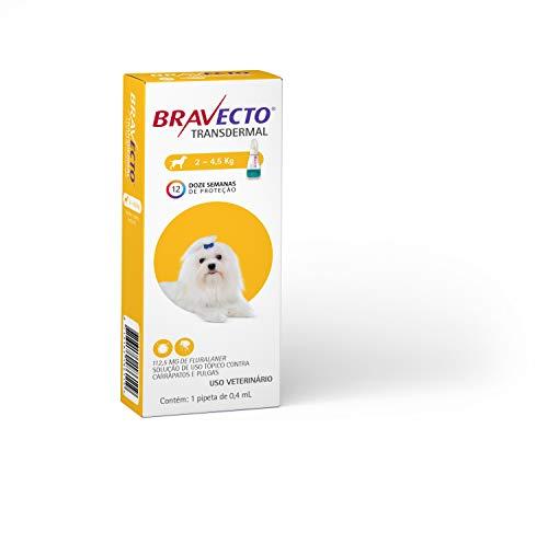 Antipulgas e Carrapatos Bravecto MSD para Cães de 2 a 4,5 kg - 1 Pipeta de 0,4ml