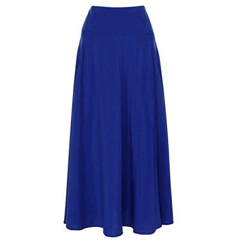 Bleu Malloom S longue Femmes ligne plisse une jupe Maxi XXL fendue taille jupe avant haute ceinture qBnZw
