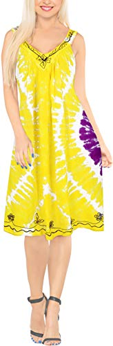 LA LEELA Women Floral Plus Size Caftan Dress Hand Tie Dye Yellow_Y875 US Size 16-28W -