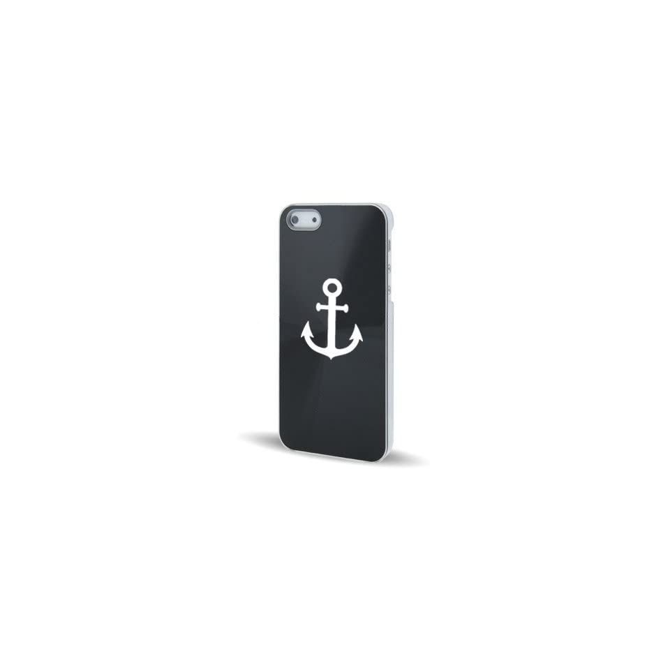 Apple iPhone 5 5S Black 5C544 Aluminum Plated Hard Back Case Cover Anchor