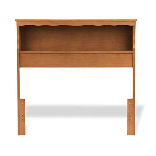 (Leggett & Platt Barrister Wood Bookcase Headboard with Nightstand Top Surface and Retro Design, Bayport Maple Finish,)