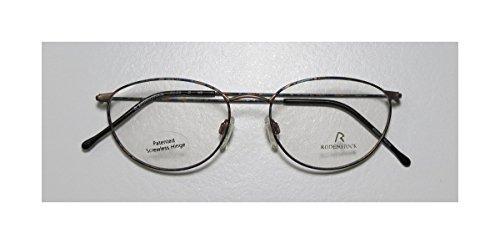 Rodenstock R2419 Mens/Womens Optical Latest Collection Designer Full-rim Eyeglasses/Glasses (51-18-145, Gold / Blue Pattern)