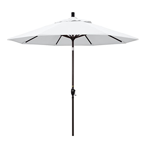 California Umbrella 9' Round Aluminum Market Umbrella, Crank Lift Push Button Tilt, Bronze Pole, White Olefin - White Patio Umbrella
