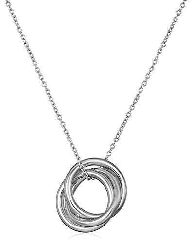 (Sterling Silver Interlocking Three Ring Pendant Necklace, 18