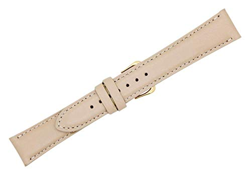 - 16mm Watch Band Almond Soft Genuine Leather - American Factory Direct - Gold and Silver Buckles Included - Made in USA by Real Leather Creations PAD CS FBA1032