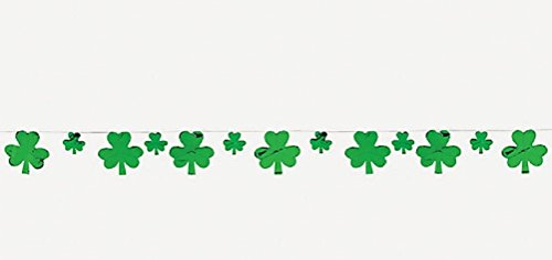 6 Foot Long Foil Shamrock Garland Banner Decoration for St Patrick Day - St Pats Decorations