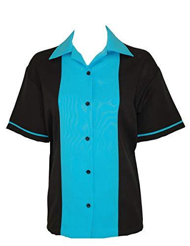BeRetro Classic 50's Womens Retro Bowling Shirt Classic 50's - 5 Colors Turquoise Classic 50's Retro Shirt