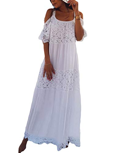 Women White Sexy Cold Shoulder Long Beach Dress Beachwear Bathing Suit Cover Up