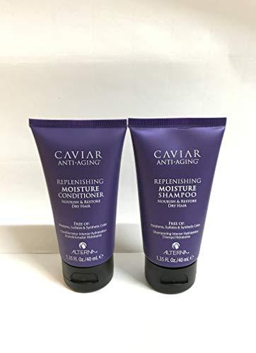 ALTERNA Haircare CAVIAR Anti-Aging Replenishing Moisture Shampoo + Conditioner Travel Set, Each 1.35 - Moisture Replenishing Shampoo