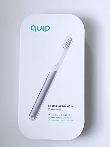 QUIP Silver Electric Toothbrush Sonic Set w/Mint Toothpaste & Travel Case Adult (Silver Metal)