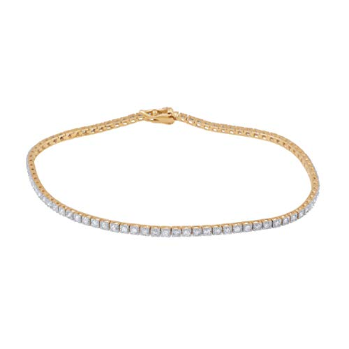 1.00 Carat Natural Diamond Bracelet 10K Yellow Gold (I-J Color, I2-I3 Clarity) Diamond Classic Tennis Bracelet for Women Diamond Jewelry Gifts for Women