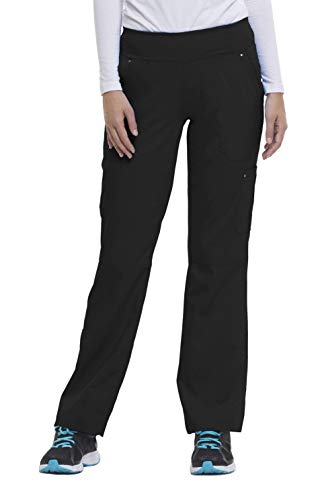 - healing hands Purple Label Yoga Women's Tori 9133 5 Pocket Knit Waist Pant Scrubs- Black- Small