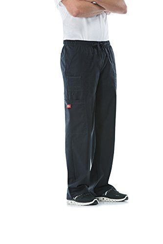 Dickies Men's GenFlex Utility Drawstring Cargo Scrubs Pant, Black, Large