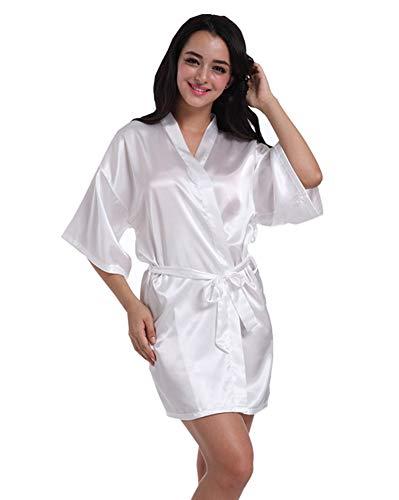 Missmaom Accappatoio Vintage Kimono Robe Short Da Retro Loungewear Sleepwear Soft Casual Knit Bianca Donna zwwUT