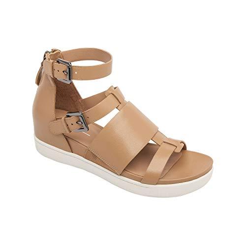 Linea Paolo Renata | Leather Suede Multi-Strap Sport Wedge Footbed Sandal Desert Nappa 7.5M