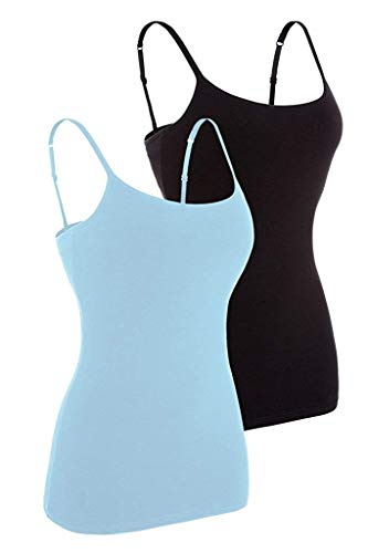 Womens Spaghetti Strap Camisole Cotton Tank Tops for Ladies 2 Packs Blue Black S