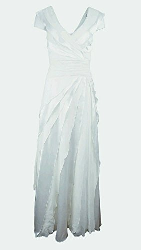 Tadashi Shoji $598 Ivory Evening Dress 100% Silk Size 16