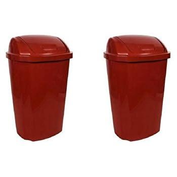 Amazon Com Hefty 13 5 Gallon Swing Lid Trash Can Red