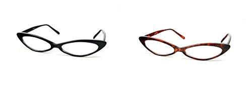 Retro Vintage Style Clear Lens Cat Eye Glasses P518CL (2 Pcs Tortoise & Black)