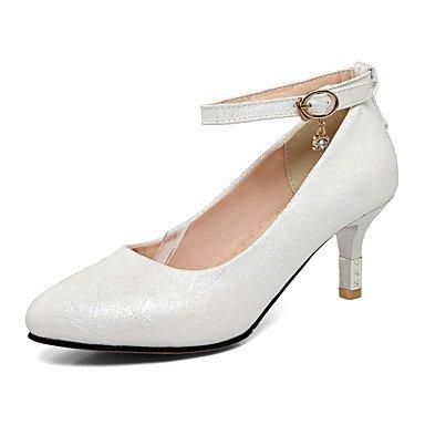 Talones de las mujeres Zapatos Primavera Verano Otoño Invierno Club de la PU para oficina y del partido de la carrera y del vestido de noche del tacón de aguja Rhinestone Rosa Blanco Azul Luz White