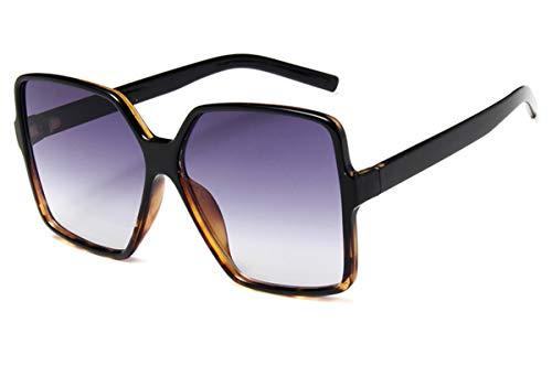 MAOLEN Oversized Square Sunglasses for Women Men Flat Top Shades Sunglasses (Black Leopard/Gray Lens) ()