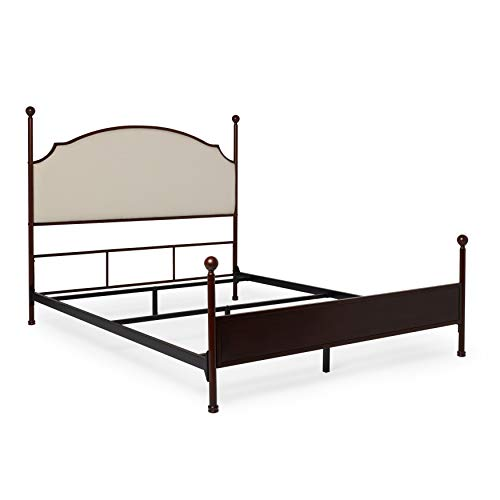 Inspire Q Andover Cream Curved Top Crry Brown Metal Poster Bed by Classic Queen Queen
