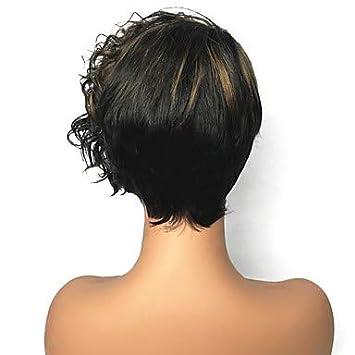 Damen Kunsthaarperücke Kurzhaarfrisur Afro Schwarz Strähnen