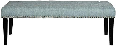 Pulaski Diamond Lunar Blue, 49.00 W x 17.75 D x 18.00 H Tufted Upholstered Bench,