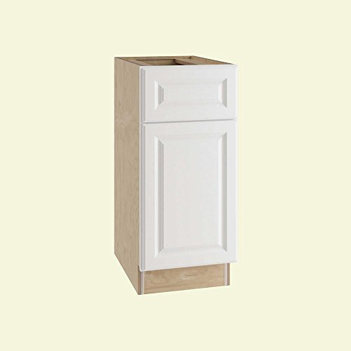 (Home Decorators Collection 15x34.5x24 in. Base Cabinet with Single Door in Hallmark Arctic White)