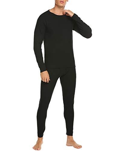 Ekouaer Men's Thermal Underwear Set Fleece Lined Long Johns Winter Layer Set New Year Gift for Husband & Boyfriend Plus Size S-XXXL Black ()