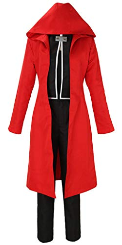 Wish Costume Shop Mens Fullmetal Alchemist Edward Elric Cosplay Costume Halloween Jacket Outfit (XXXL, Red Cloak Only)
