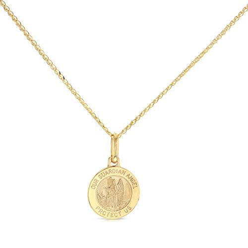 14K Yellow Gold Our Guardian Angel Protect Us Charm Pendant with 1.2mm Flat Open Wheat Chain Necklace - 20