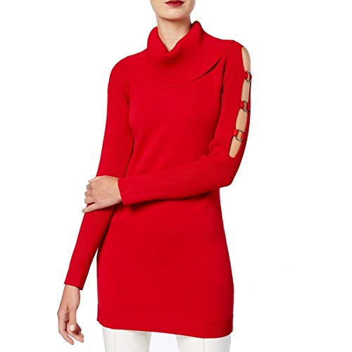 INC International Concepts Grommet-Embellished Tunic Sweater (Real Red, Medium) from INC International Concepts