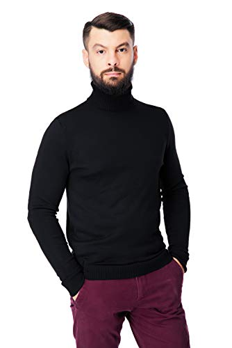 Men's Merino Wool Turtleneck Sweater Classic Midweight Long Sleeve Pullover (Black, ()