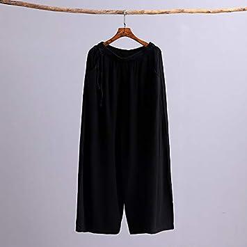 KTKZSS Mujeres Pantalón de Lino de algodón Pantalón Ancho Pantalón de Cintura elástica Color sólido Vintage Tallas Grandes Pantalones de Mujer Talla única Negro: Amazon.es: Deportes y aire libre