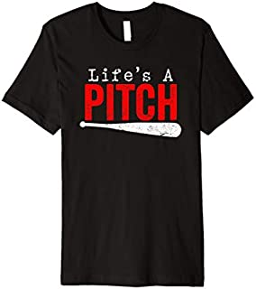 Mens Funny Life's A Pitch Baseball  Cool Gift T-shirt | Size S - 5XL