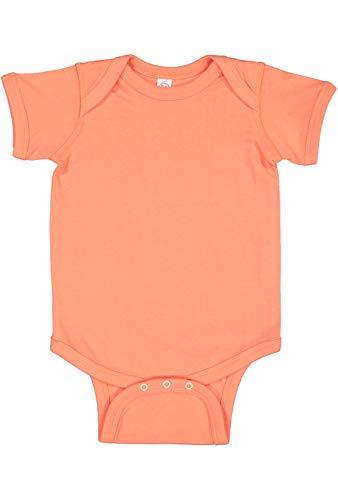 (Rabbit Skins Infant 100% Cotton Jersey Lap Shoulder Short Sleeve Bodysuit (Papaya, Newborn))