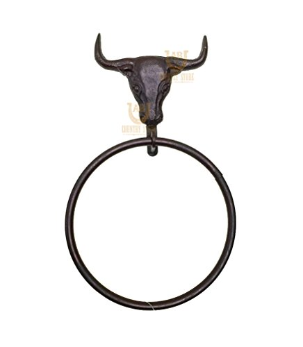 Cast Iron Steer Head Towel Ring -Bull, Cow - Country Western Rustic Ranch Style Decor - Country Towel Ring