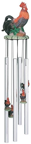 StealStreet SS-G-41537 Wind Chime Round Top Rooster Hanging Garden Porch Decoration Windchime