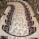 ファッションホーム-階段マット 吸着 滑り止め 洗える 厚手 草木模様 ベージュ+ブラウン 24CMx75CM(13枚セット) B01N6N457Q