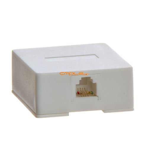 Cmple - Phone Surface Mount Box 6P4C-1port-WHITE - Surface Mount Wire